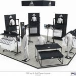 PointISM Adidas-shop-in-shop concept 3D rendering retail design metal apparel pop display golftown